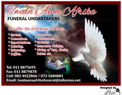 Twala Ama Afrika Funeral Undertakers Johannesburg